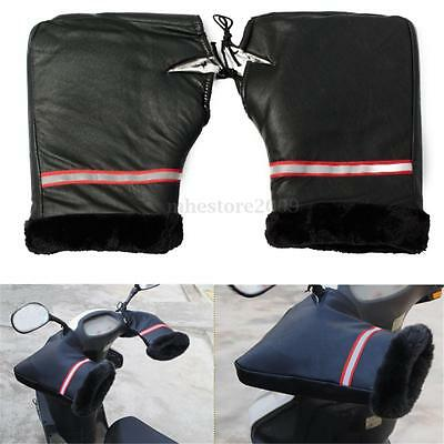 2x Waterproof Winter Motorcycle Motorbike Handle Bar Hand Cover Gloves Muffs New