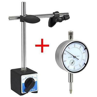 0.01mm Dial Test Indicator DTI Gauge & Magnetic Base Stand Precision Clock