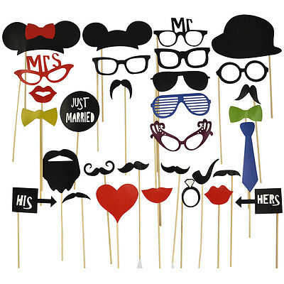 UK 58/44/31 PCS Wedding Photo Booth Props On A Stick Mustache Party Fun Birthday