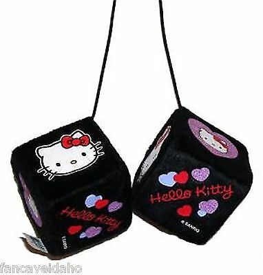 Sanrio Hello Kitty Hearts Design Rear View Mirror Fuzzy Dice Car Ornament