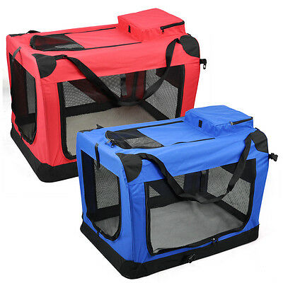 Fabric Soft Pet Crate Kennel Cage Carrier House Dog Cat Blue / Red New UK Seller