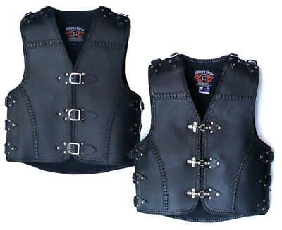 Mens Motorcycle Heavy Duty Club Buckle Vest 3Mm Thick Cowhide Leather