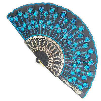 Blue Embroidered Flower Silk Lace Folding Held Hand Fan Wedding Dance Party UK