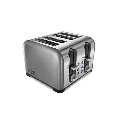 Russell Hobbs 22400 4 Slice Wide Slot Toaster In Brushed Stainless Steel - New