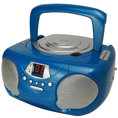 Groov-e GVPS713 Portable Audio CD Player Radio Boombox Aux Input LED New - Blue