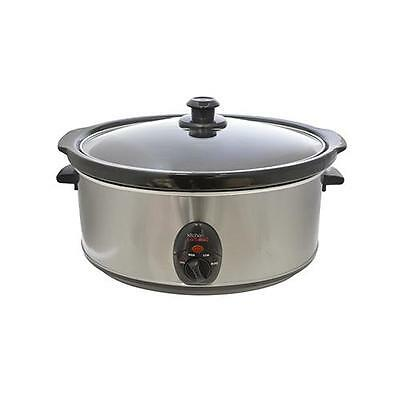 Lloytron E3060 Kitchen Perfected 320W 6.5 Litre Slow Cooker - Brushed Stainless