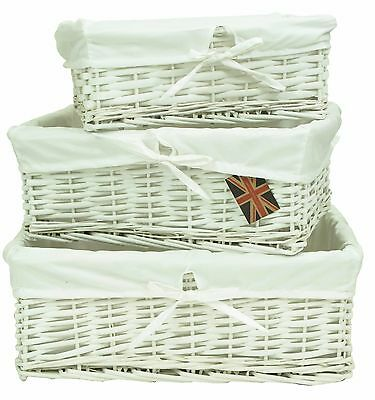 e2e White Wicker Shallow Storage Display Basket Box with Pure White Cotton Liner