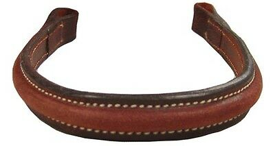 Plain Raised Browband with White Stitching for English Bridles Select Size