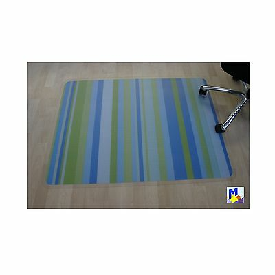 Floor protector Office chair pad Motif Stripes blue/green mix 90x120 NEW