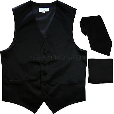New Men's black formal vest Tuxedo Waistcoat_necktie & hankie set wedding prom