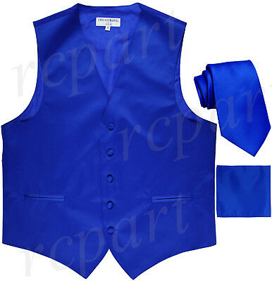 New Men's Royal blue formal vest Tuxedo Waistcoat_necktie & hankie set wedding