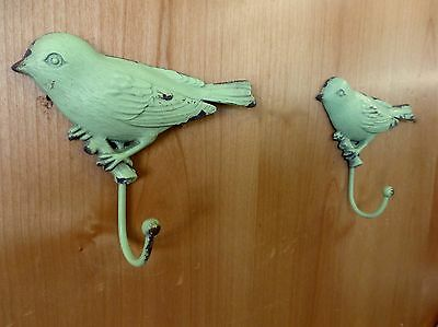 "2 GREEN VINTAGE-STYLE DISTRESSED METAL BIRD WALL HOOKS 4.25"" primitive coat key"