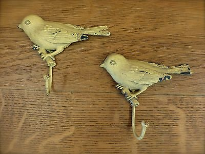"2 YELLOW VINTAGE-STYLE DISTRESSED METAL BIRD WALL HOOKS 4.25"" primitive coat"