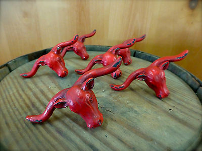 6 RED STEER BULL DRAWER CABINET PULL HANDLE KNOB VINTAGE-STYLE WESTERN hardware