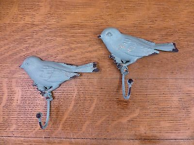 "2 BLUE VINTAGE-STYLE DISTRESSED METAL BIRD WALL HOOKS 4.25"" primitive coat key"