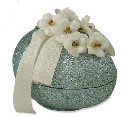 """Bethany Lowe """"Feather Your Nest Egg"""" Paper Mache' Container w/Flowers & Ribbon"""