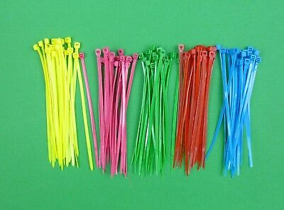 100 (5 x 20) multi coloured cable ties for 1:10 RC use -suit Tamiya Traxxas HPI