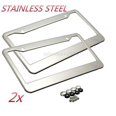 2pcs sliver metal stainless steel license plate frames w screw caps tag cover