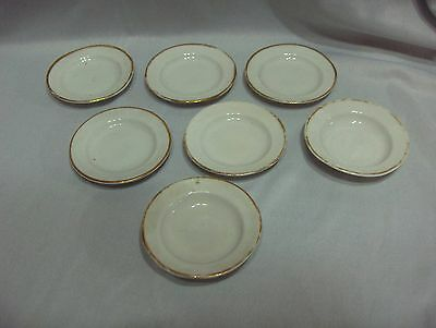 Antique Vintage 7 Porcelain Butter Pats Teabags Salts Gold Trim
