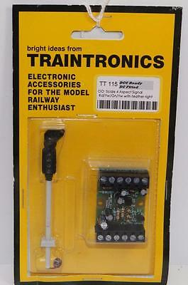 OO Scale Traintronics 4 Aspect Signal Rd/Yw /Gn/Yw + Right Feather TT115 (JV173)