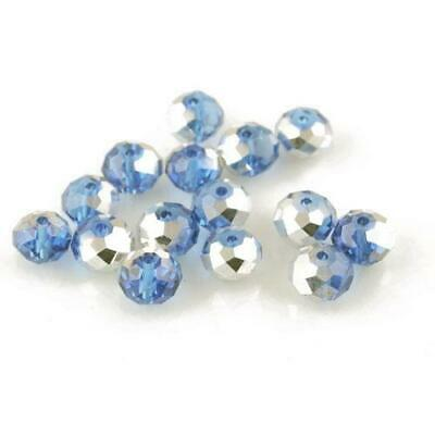 Strand 70+ Blue/Silver Czech Crystal Glass 8x10mm Faceted Rondelle Beads HA20085