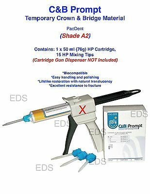 Shade A2 C&B Prompt Temporary Crown and Bridge Material HP Cartridge & 15 Tips