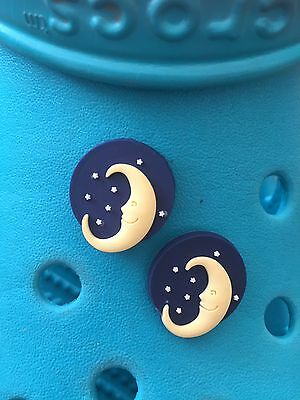 2 Man In the Moon Shoe Charms For Crocs & Jibbitz Wristbands. Free UK P&P.
