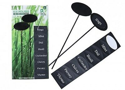 Set Of 2 Metal Garden Herb  Markers With Stickers