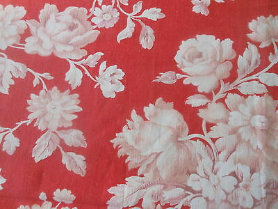 Antique French Softened Red Poppy Roses Floral Cotton Fabric  ~  #1