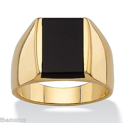 14K Gold Emerald Cut Black  Onyx Mens Gp Ring Size 8 9 10 11 12 13