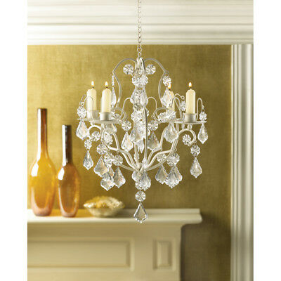 CRYSTAL CHANDELIER Lighting IVORY BAROQUE ACRYLIC HANGING Candle Holder WEDDING!