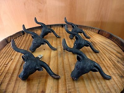 6 BLACK STEER BULL DRAWER CABINET PULL HANDLE KNOB VINTAGE-STYLE WESTERN decor