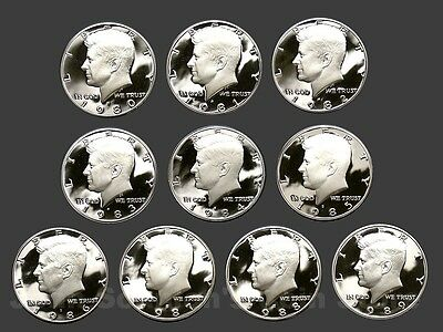Decade Set of Proof Kennedy Half Dollars 1980-1989 (10 Coin Lot)