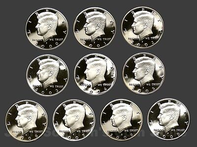 Decade Set of Proof Kennedy Half Dollars 2000-09 (10 Coins)