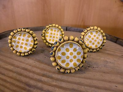 4 YELLOW SUNFLOWER GLASS DRAWER CABINET PULLS KNOBS VINTAGE chic child hardware