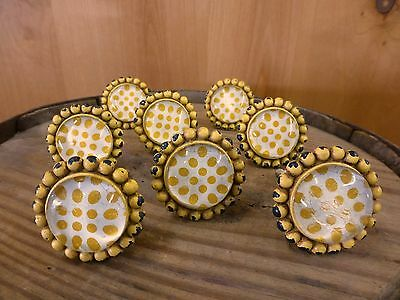 8 YELLOW SUNFLOWER GLASS DRAWER CABINET PULLS KNOBS VINTAGE chic child hardware