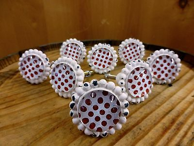 8 WHITE RED DOT FLOWER GLASS DRAWER CABINET PULLS KNOBS VINTAGE chic hardware