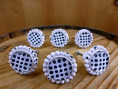 6 WHITE BLACK DOT FLOWER GLASS DRAWER CABINET PULLS KNOBS VINTAGE chic hardware