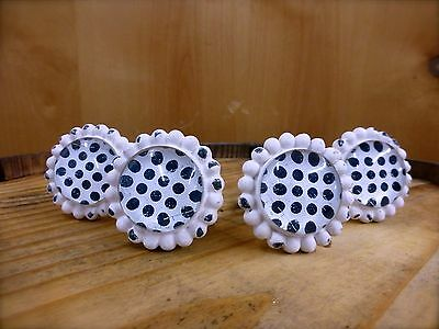 4 WHITE BLACK DOT FLOWER GLASS DRAWER CABINET PULLS KNOBS VINTAGE chic hardware