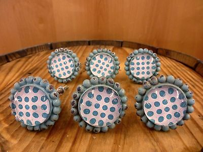 6 BLUE SUN FLOWER GLASS DRAWER CABINET PULLS KNOBS VINTAGE chic garden hardware