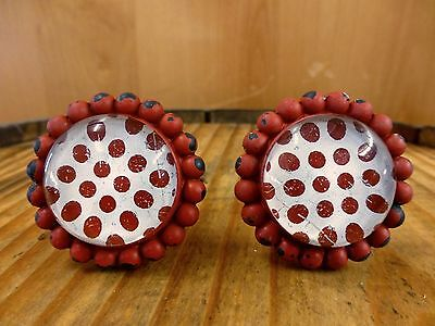 2 RED SUN FLOWER GLASS DRAWER CABINET PULLS KNOBS VINTAGE chic garden hardware