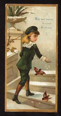 greenaway ? boy in green suit victorian greeting card bookmark