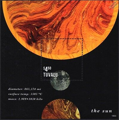 THE SUN: Planets of the Solar System Space Stamp Sheet (Tuvalu)