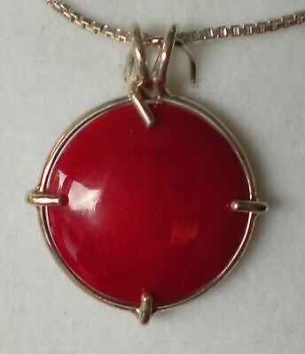 Red Coral Pendant - Sterling Silver j2644