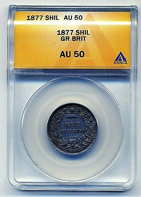 Great Britain Shilling 1877, ANACS AU 50