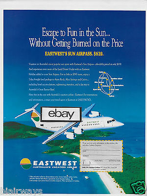East-West Airlines Australia Ba 146-300 Escape To Fun In Sun Great Barrier Ad