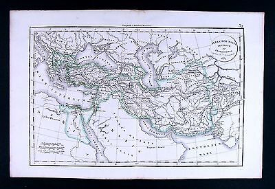 1832 Antique Map by Delamarche Empire of Alexander the Great Greece Middle East