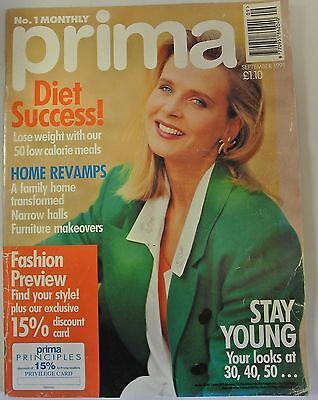 Prima Magazine September 1991. Diet Success! Home Revamps. Stay Young. Fashion.