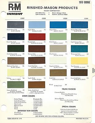 1973 Dodge Dart Charger Challenger Paint Chips (R-M)