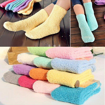 Women Girls Winter Bed Socks  Solid Fluffy Warm Soft Thick Home Candy Color YJ